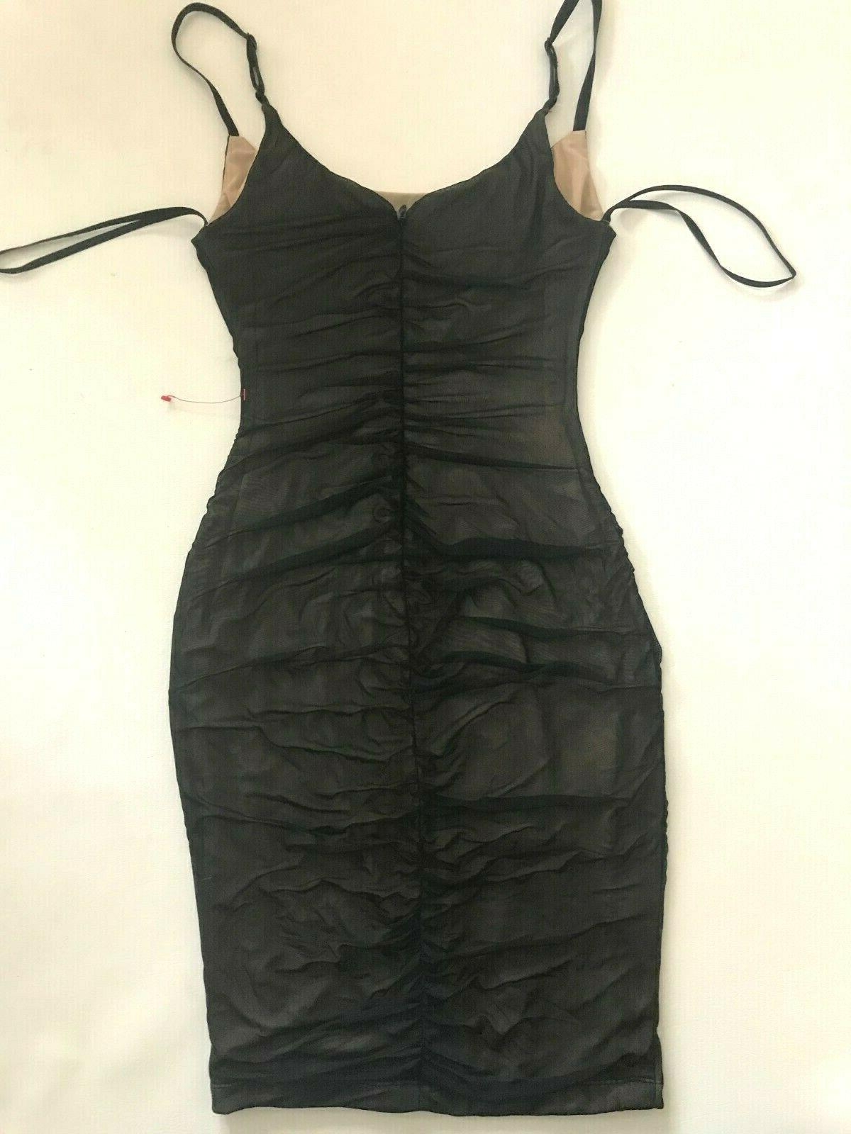 NWT black mesh ruched straps S Small