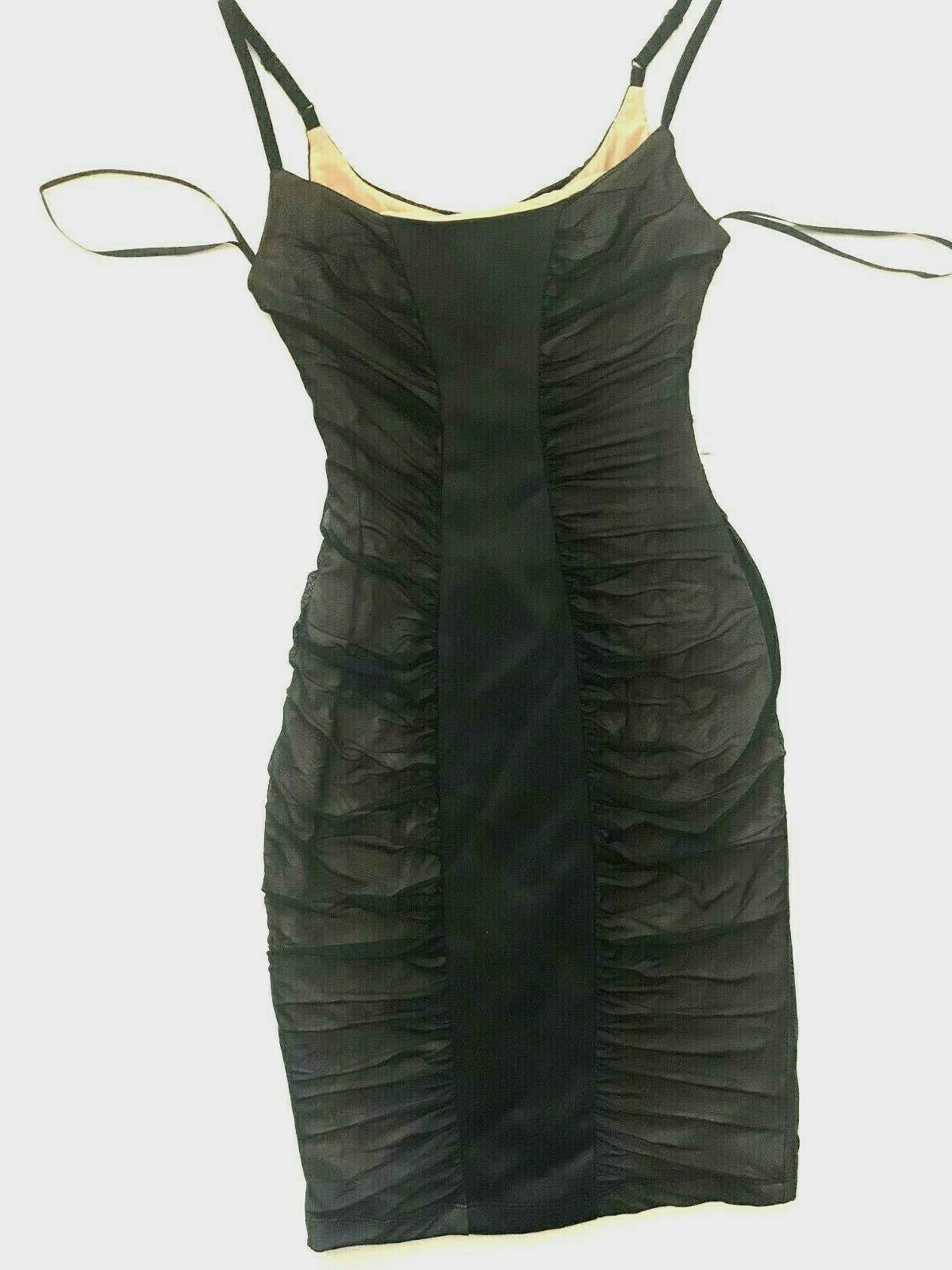 nwt black mesh ruched straps second skin