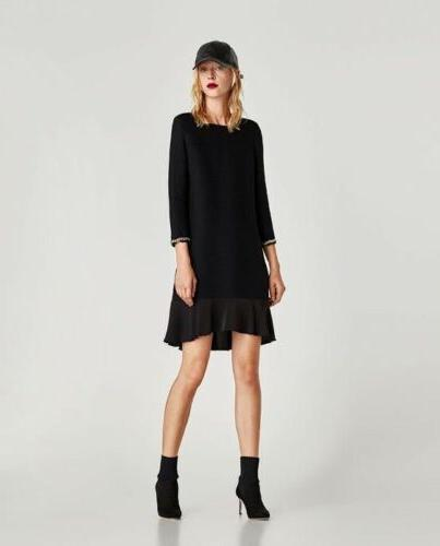 ribbed dress with cuff detail black 9776