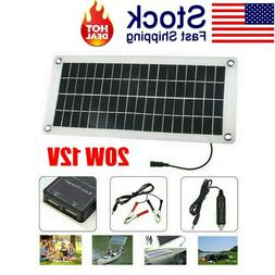 Solar Panel 20W 12V Trickle Charge Battery Power Charger Kit